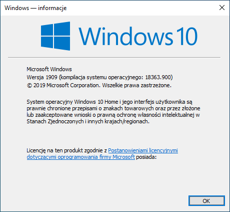WINVER - sprawdzenie wersji systemu Windows