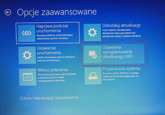 Wejście do BIOS z Shift - Windows 8-10