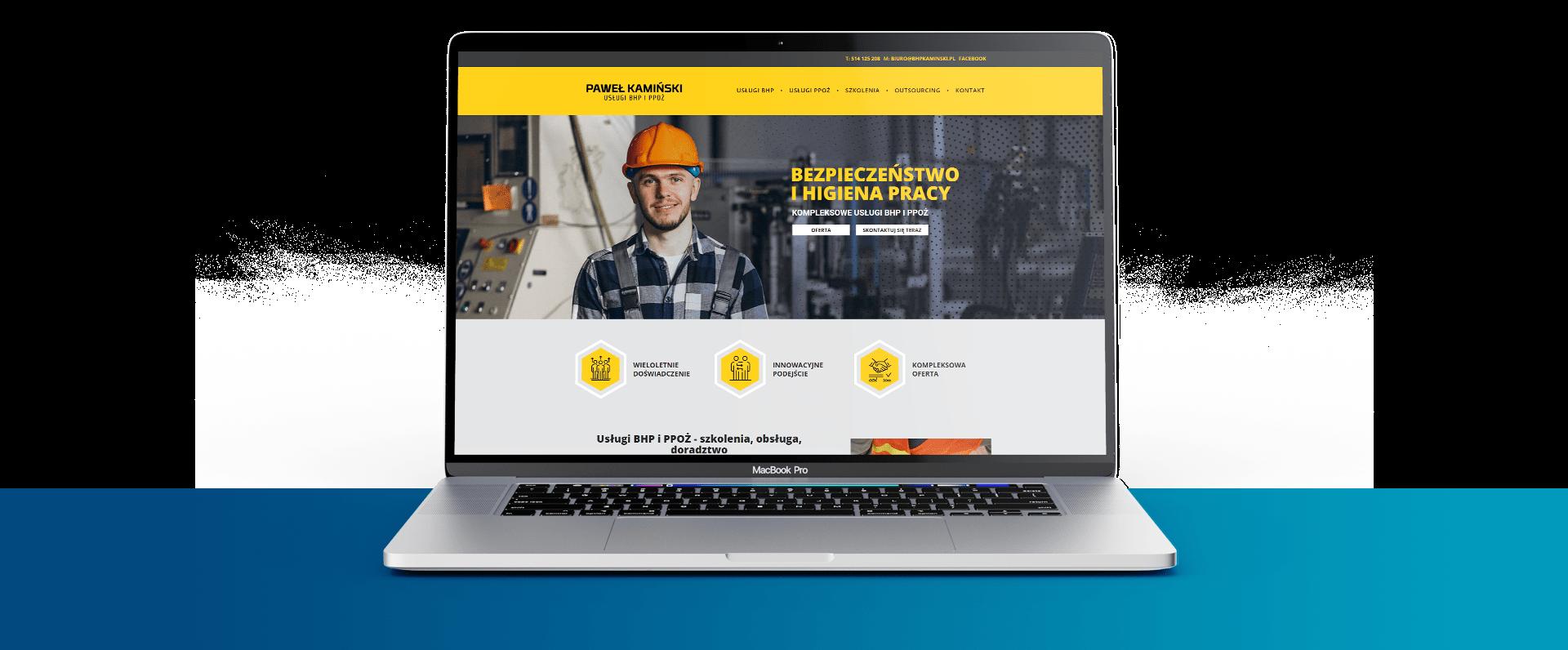 Strona internetowa dla Usługi BHP Paweł Kamiński