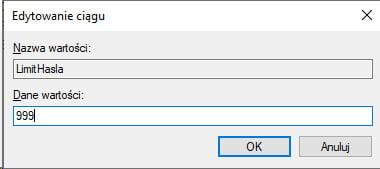 Płatnik limit hasla